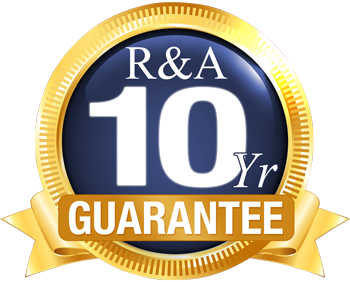 R & A Windows standard installation 10 Year Guarantee Sticker