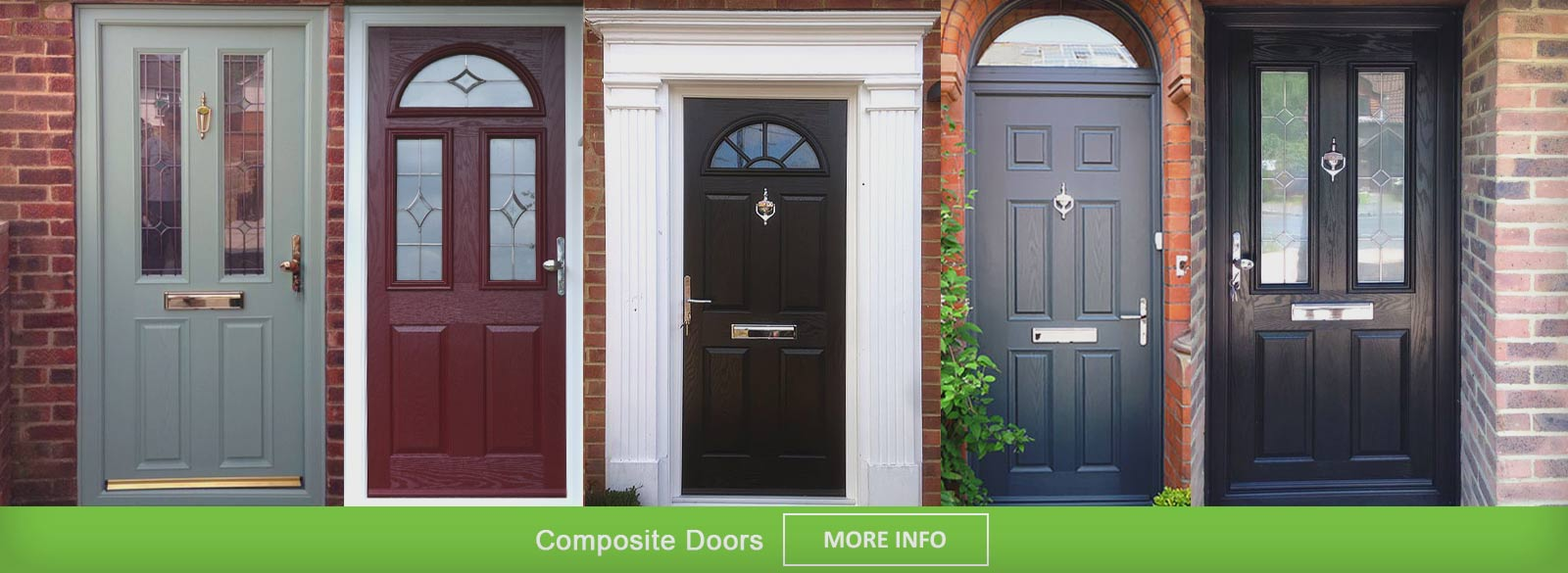 A full range of composite doors in a row with different colours