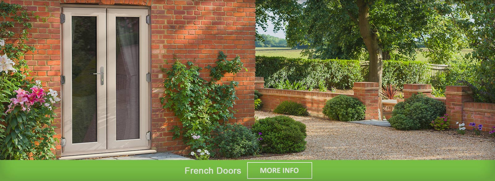 White PVC-u French doors viewed with doors open