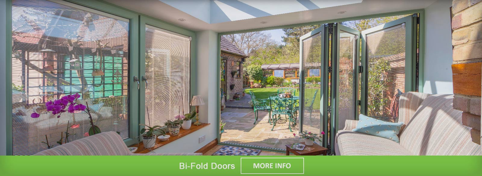 Modern Bi Fold doors, viewed from inside when the doors are closed