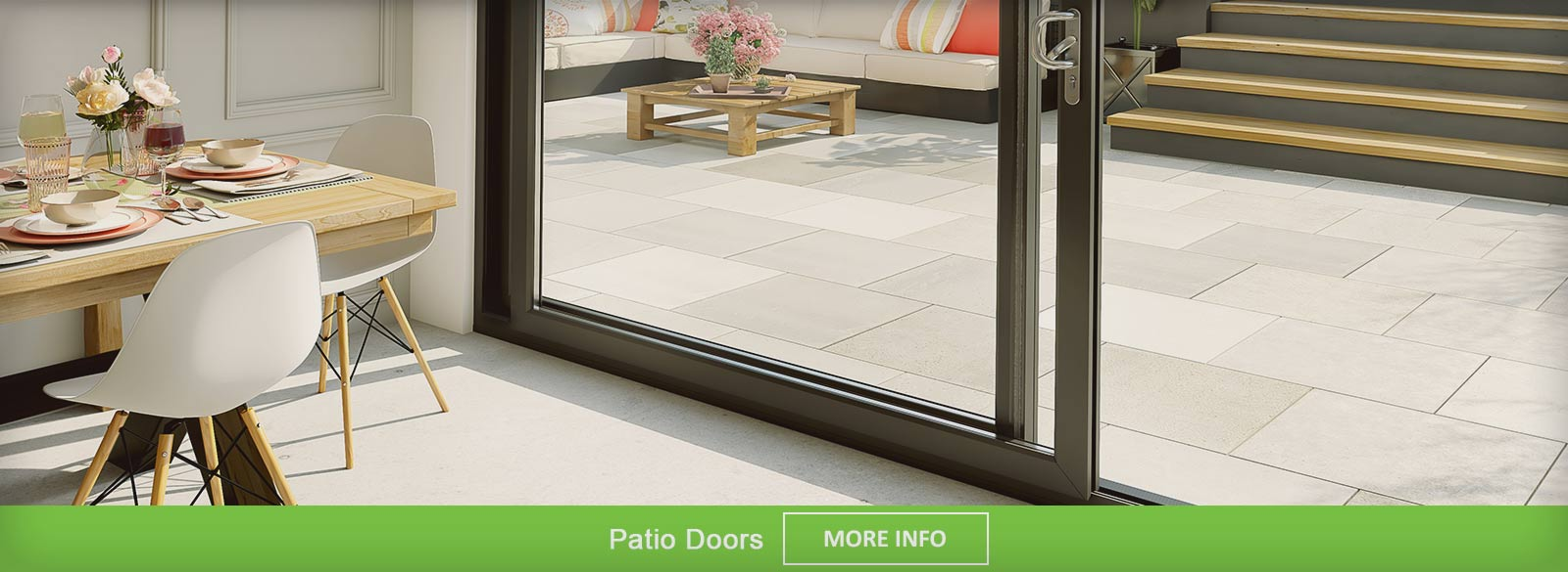 White PVC-u Sliding Patio doors for internal room