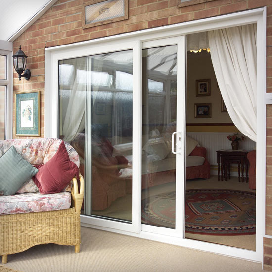 Sliding internal patio doors made from PVCu