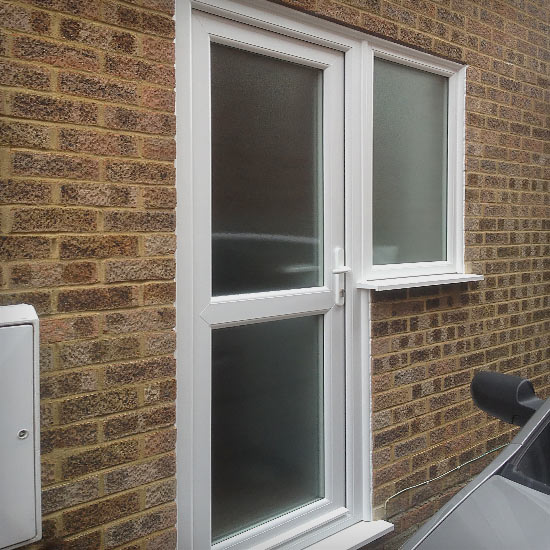 Finish after replacement PVCu door and window had been fitted