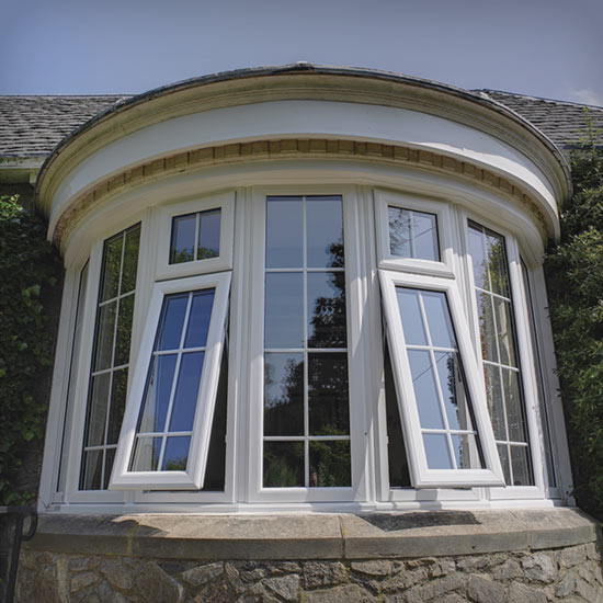 Curved bay window installation external view
