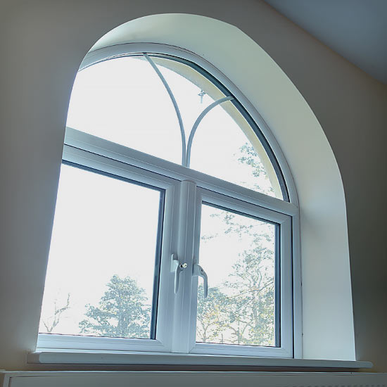 Small bay window with white white pvcu frame